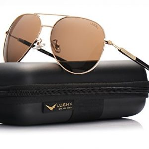d5c1f7c2af0a8 LUENX Aviator Mens Sunglasses Polarized Womens with Case – UV 400 Protection  Brown Lens Gold Frame 60mm